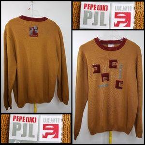 PEPE JEANS men's vintage mustard sweater size XL